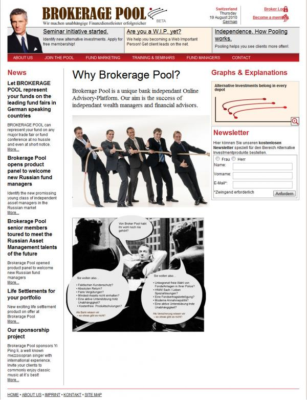 Сайт швейцарской брокерской биржы - Brokerage Pool