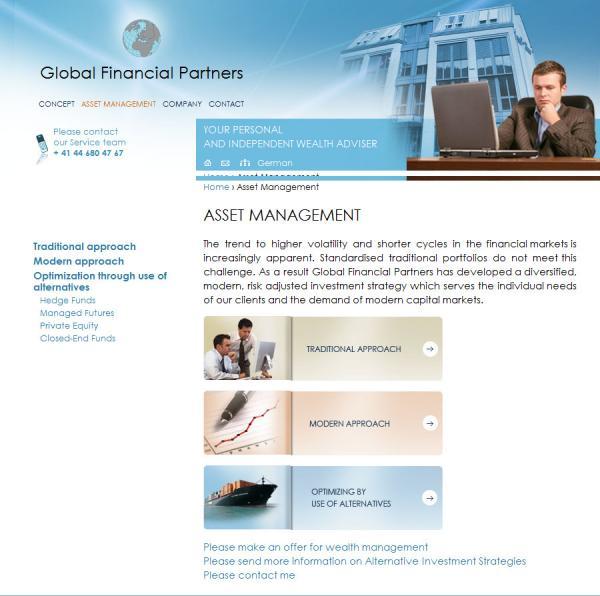 Сайт швейцарской финансовой компании